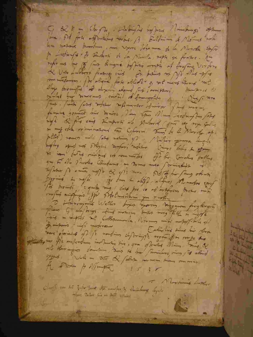 Ein Original-Luther-Brief in Schleusingen von 1536