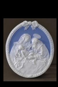 Ilmenauer Porzellanfabrik - Biskuitmedaillon a la Wedgwood, Darstellung: Die Heilige Familie