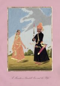 Company School Maler - Ein Bundela-Fußsoldat und seine Frau
