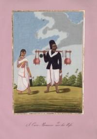 Company School Maler - Pilger mit heiligem Wasser aus Benares und seine Frau