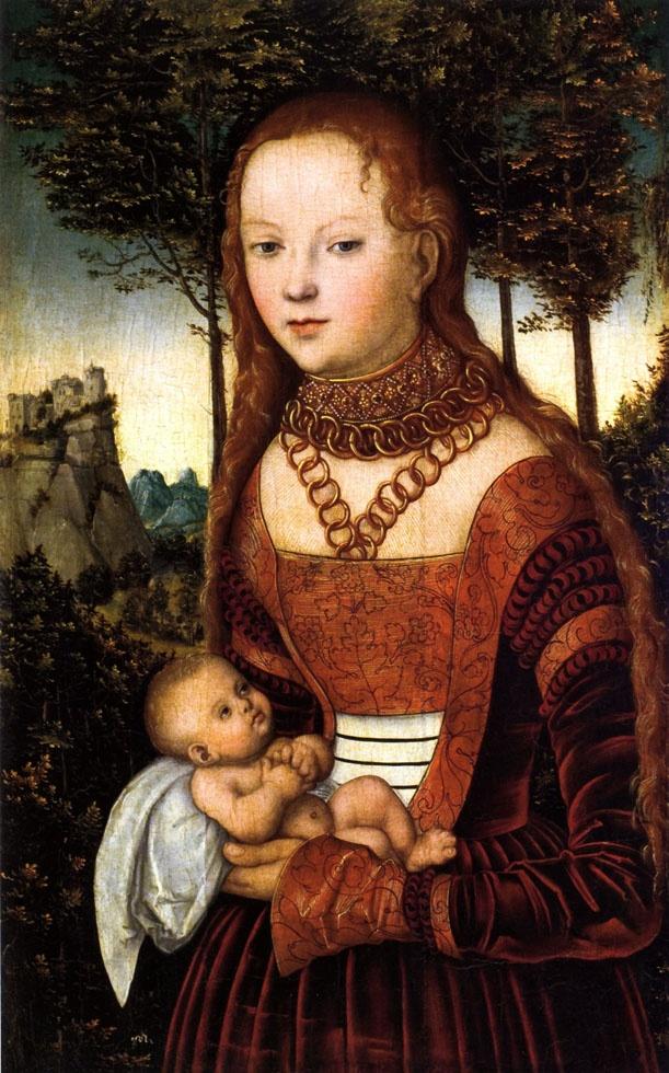 Cranach d. Ä., Lucas - Lucas Cranach d. Ä.: Junge Mutter mit Kind (sog. »Buße des heiligen Johannes Chrysostomos«). 1525